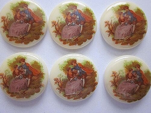 6 GLASS LIMOGE CAMEOS VTG LOT 18mm VICTORIAN CABOCHON JEWELRY FINDINGS CRAFT NOS