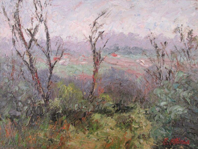 Original+Oil+Painting+Australian+Impressionist+Artist+Enoch+Hlisic+CLOUDY+DAY