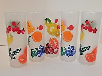 Federal Gay Fad Frosted Fruit Glasses 5 Tumblers Iced Tea Zombie