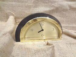 Seiko QSG222G Desk/Table Japanese Quartz Clock Two Tone GOLD & GRAPHITE Lucite
