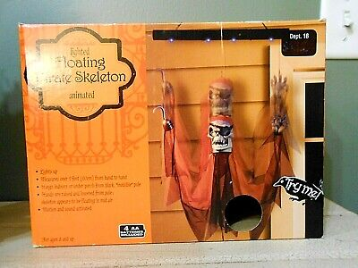 Gemmy Halloween FLOATING PIRATE SKELETON Lighted Animated screaming Ghost