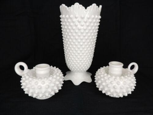 Vintage Fenton White Milk Glass Hobnail Vase & 2 Candle Holders