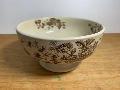 """W.H. GRINDLEY & CO. TUNSTALL """"SPRING"""" Cream & Brown Transfer ware Footed BOWL"""
