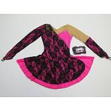 FIGURE SKATING COMPETITION DRESS Hot Pink & Black Lace Loaded w Crystals Child M