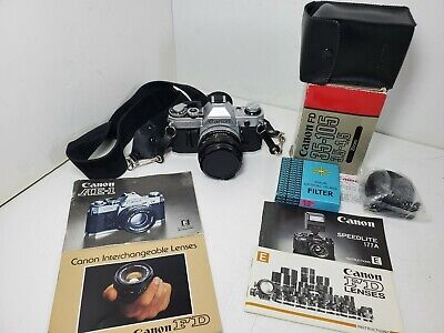 Canon AE-1 JAPAN 35mm Film Camera Bundle With Two Lenses, Manuals, filter, bag