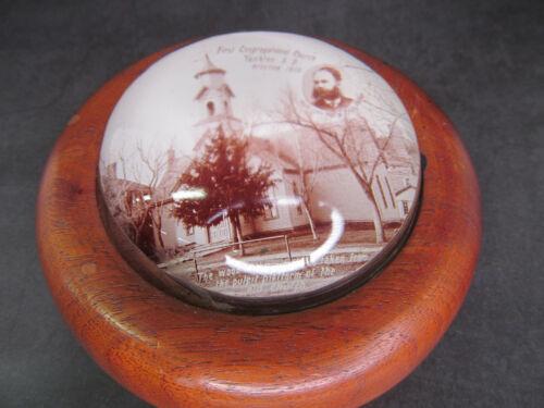 Yankton, South Dakota  SD,  First Congregational Church Glass/Wood Paperweight