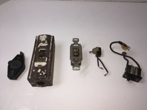 Vintage Antique Brown Porcelain Box Light Toggle Switch Lot of 5 Pieces Switches