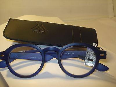 AUTH MONTANA VINTAGE DESIGNER PREPPY ROUND READING GLASSES READERS BLUE 1.50