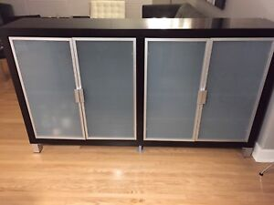 EQ3 Modern Espresso Credenza Hutch with frosted glass doors