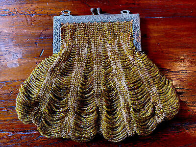 1920s Style Purses, Flapper Bags, Handbags 1920's Vintage Brass Beaded Clutch Bag Purse - Art Deco - No Chain $19.99 AT vintagedancer.com