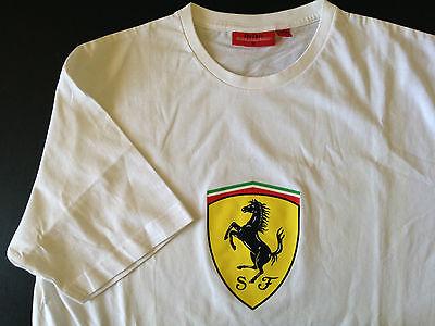 Authentic Ferrari White 100% Cotton Tee Shirt M with Shield Logo, Precisport