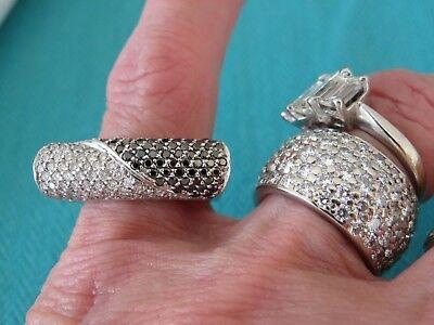 VINTAGE 18K WHITE GOLD 1.00 CT BLACK & WHITE DIAMOND 8 MM WIDE FASHION RING
