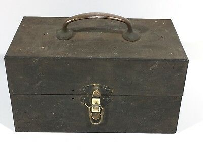 Vintage Metal Cash Box With Brass Handle And Latch