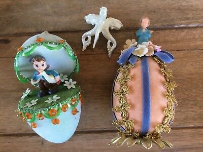 VINTAGE DIORAMA EASTER EGG LOT ( FOAM DECORATIVE )