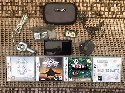 Black Nintendo DS LITE Console Bundle With Case Chargers And 7 Games.