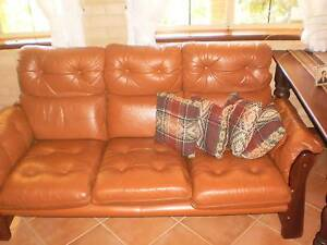 Brown Leather three seater sofa and two single chairs Leschenault Harvey Area Preview