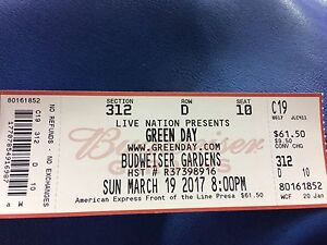 Green Day Single Ticket