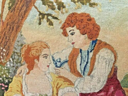 ANTIQUE 19TH CENTURY PETITPOINT NEEDLEPOINT TAPESTRY PILLOW COUPLE COURTING