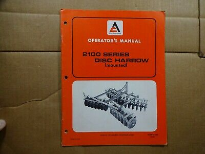Allis Chalmers 2100 Series Mounted Disc Harrow Operators Manual 172