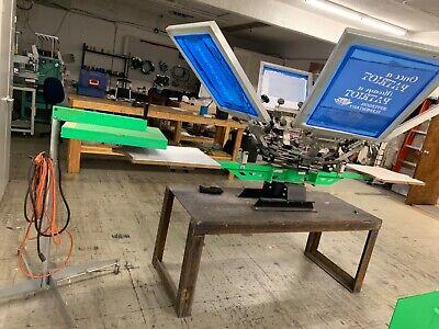 Riley Hopkins Jr. 6 Color 2 Station Screen Printing Press Wstand Up Flash Dryer