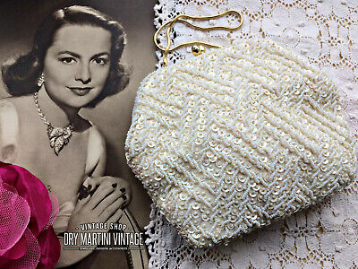 1950s Handbags, Purses, and Evening Bag Styles VINTAGE 1950s WHITE IVORY BEADED SEQUIN EVENING BRIDAL BAG EMPIRE MADE STUNNING $54.95 AT vintagedancer.com