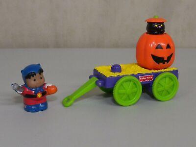 Fisher Price Little People Halloween Tricks 'n Treat Black Cat Pumpkin Wagon Lot