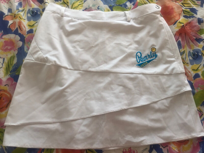 Pearly Gates White korean Stretch designer Skirt with shorts Golf Wear 66 small