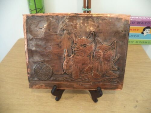 """Vintage Copper Printing Plate? KITTENS AND YARN 6 1/4"""" X 8"""""""
