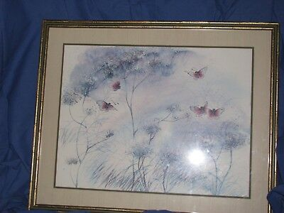 Butterfly 'Lady in Waiting' Cecilia Lin Print 1979 Floral Picture-37x31-Sgnd/#d  - Lady In Waiting Movie