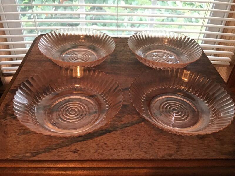 """4 Vintage Macbeth Evans Pink Petalware 5 3/4"""" Bowls"""