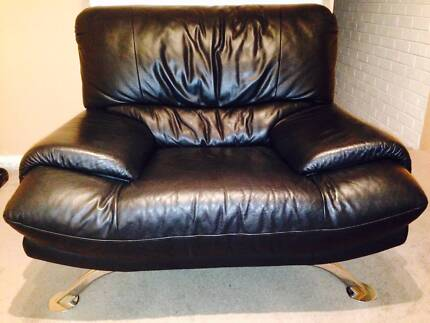 Genuine Leather 3-Seater Lounge + 3 Singles + 2 Glass Tables Embleton Bayswater Area Preview