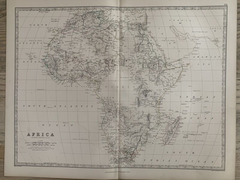 1868 Africa Original Hand Coloured Antique Map by Johnston