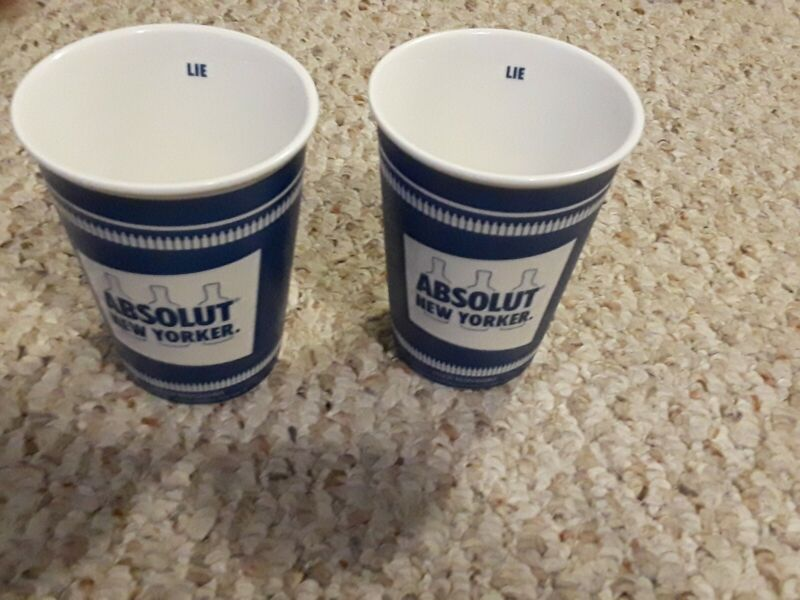 Set of 2 Absolut Vodka New Yorker Ceramic Coffee Cup Collector