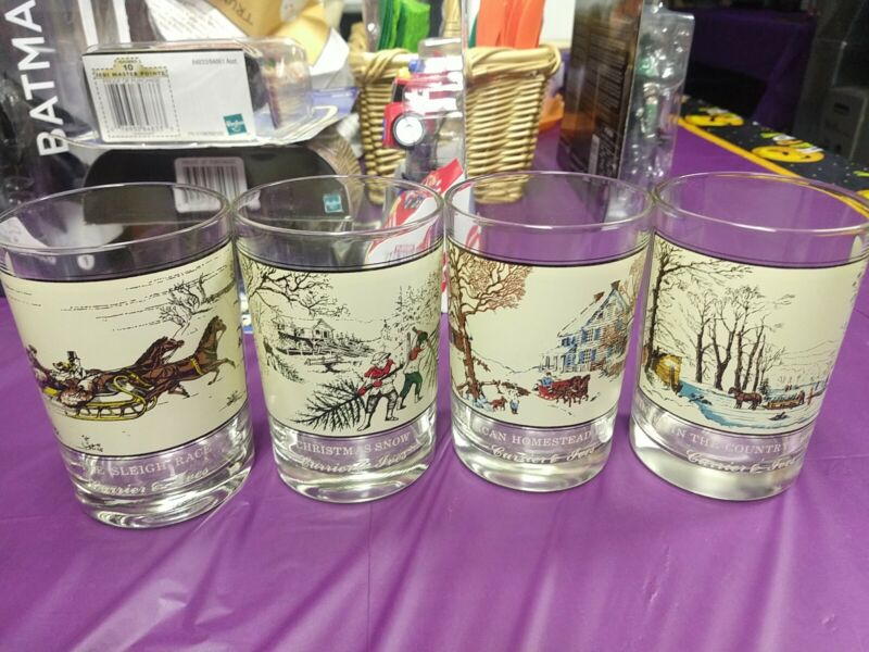 Currier and Ives Arby's Winter Christmas Tumblers Glasses 1978 Complete Set of 4