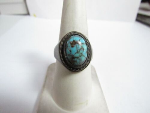 SOLID STERLING SILVER MEXICO RING WITH SPIDER NATURAL TURQUOISE