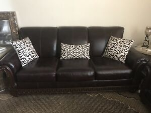 3 piece Leather couches with leather chair