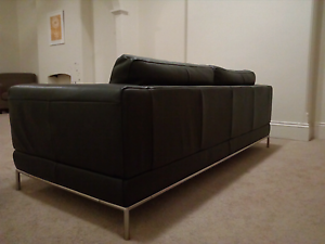IKEA ARILD Black Leather Sofa Lavender Bay North Sydney Area Preview