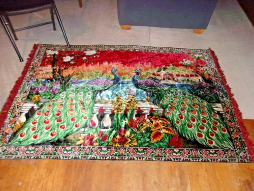 Vintage Velvet Tapestry Rug Peacock Exotic Bird & Flowers 4