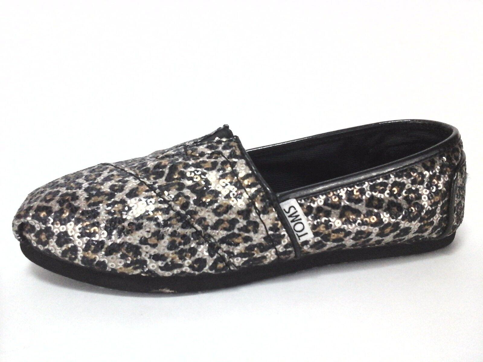 8dcdd08e2cc TOMS Shoes Women s Leopard Animal Print Sparkle Slip On Flats US 5 EU 35.5   60