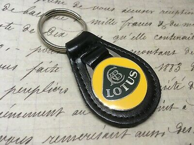 LOTUS PRINTED Quality Black Real Leather Keyring EVORA ELISE ESPRITE EXIGE