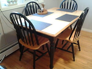 Hard wood kitchen table and chair