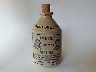 Vintage ENGLISH STONEWARE SALAD DRESSING CRUET ENGLAND ANTIQUE ADVERT CURLS HAIR