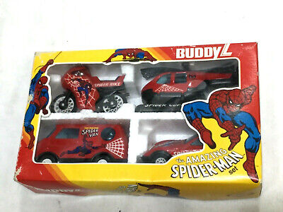 1982 Buddy L Amazing Spiderman Diecast Set Van Motocycle Car Helocopter Boxed