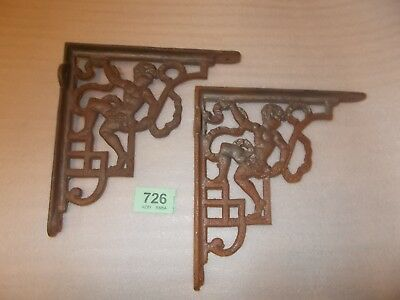 Pair Vintage Cast Iron Cysten Sink Cherub   Brackets Bathroom Supports 726