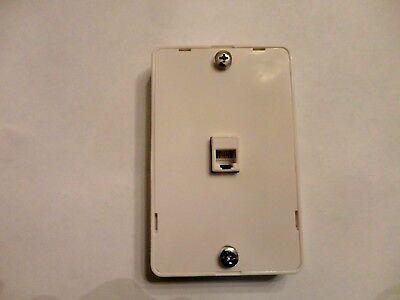 3 WAY Modular Surface Mount Phone Jack Wall Plate Flush Telephone, 4C6P Ivory Modular Surface Mount