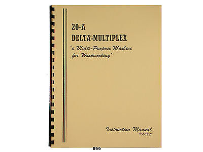 Delta Multiplex 20-a Radial Arm Saw Operator And Parts List Manual 866