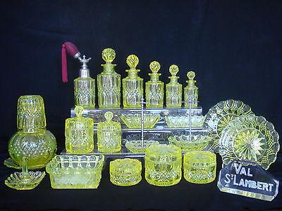VAL ST LAMBERT VASELINE CANARY URANIUM VANITY 23 PIECE SET