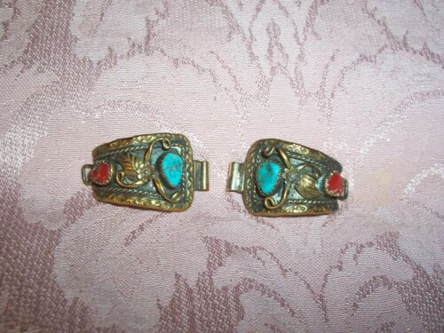 Beautiful Vintage   with Turquoise & Coral Watch Band Tips