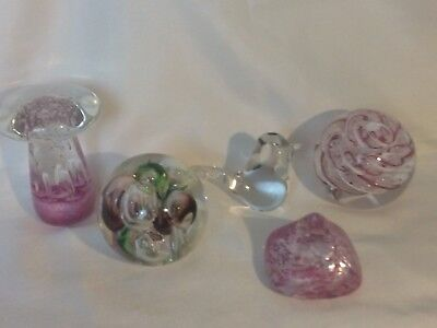 A FINE QUINTET OF LANGHAM GLASS PAPERWEIGHTS ,MUSHROOM-AIR CUB COLLECTION-BUBBLE