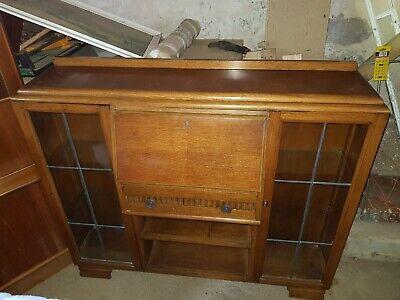 Gorgeous Edwardian Oak Side by Side Display Cabinet/Cupboard with Bureau